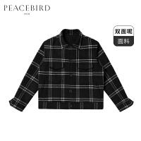 太平鸟男装千鸟格夹克双面呢大衣黑白格纹夹克衫外套工装夹克潮流