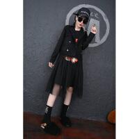加肥加大码女装秋冬季新款马甲纱裙两件套装胖mm鱼尾连衣裙卫衣潮 黑色