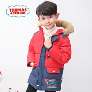 【3件3折到手价:158.7】托马斯童装男童2017冬季新款长款棉服连帽