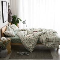 水洗棉床上四件套全棉纯色条纹简约床笠款床单款纯棉被套 浅绿色 英伦绿格 2.0m(6.6英尺)床 床笠款套件