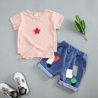 【支持礼品卡支付】儿童套装两件套短袖T恤短裤热裤夏季 男童女童宝宝1-3岁五角星条纹XYF-F182243