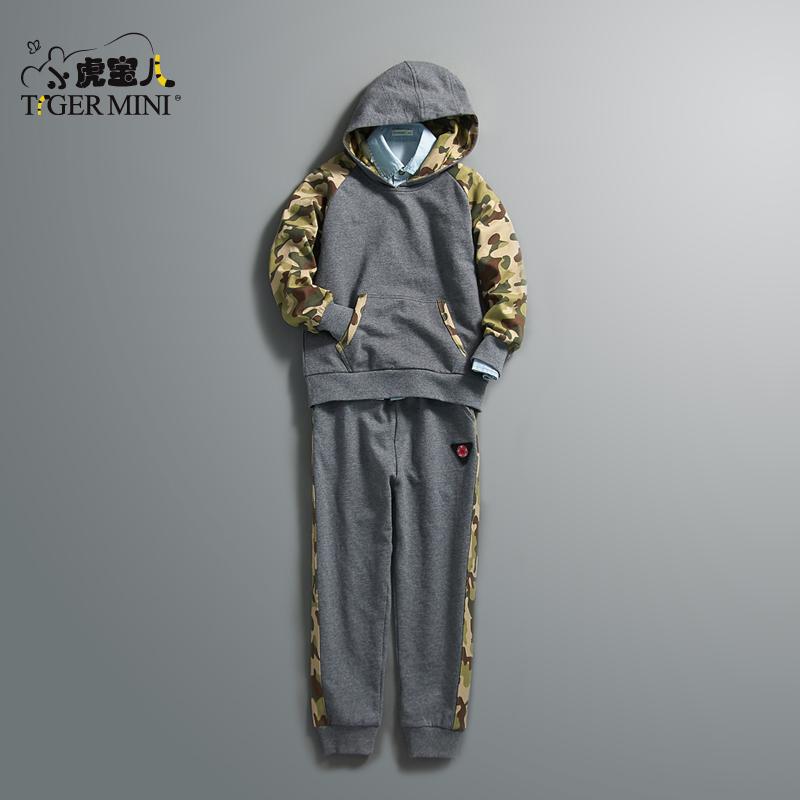 男童纯棉运动套装 儿童韩版迷彩两件套中大童春秋款小虎宝儿童装全棉小毛圈 迷彩印花 运动套装