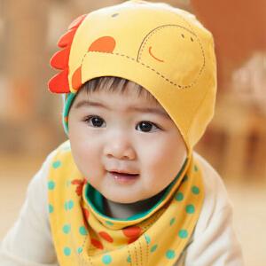 货到付款 Yinbeler婴儿胎帽新生儿围兜0-3-6-12个月棉春夏秋冬季男女宝宝棉长颈鹿帽子三角巾套装
