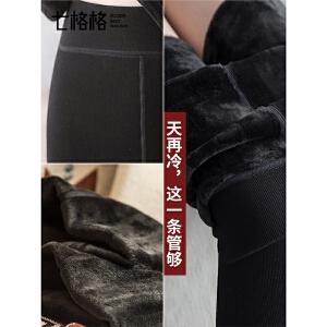紧身小脚裤子秋冬季女2018新款百搭加绒加厚打底裤外穿黑色连裤袜