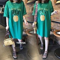 孕妇夏装上衣2017新款韩版宽松大码中长款纯棉T恤夏季孕妇连衣裙 绿色