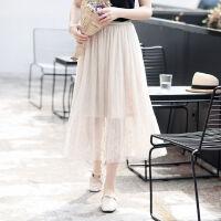 �W�半身裙女2019��松夏高腰低腰�裙小清新百褶裙子蕾�z�L裙