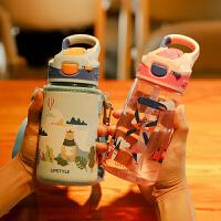 夏季儿童吸管水杯子小学生幼儿园防摔宝宝塑料水壶便携夏天水瓶