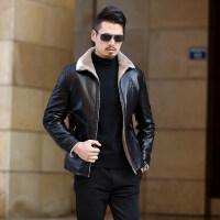 男士皮衣外套冬季加绒加厚2018新款帅气夹克中年皮毛一体皮夹克潮