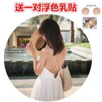 原创夏季新款泰国马尔代夫海岛度假沙滩长裙性感露背显瘦吊带连衣裙仙GH04 白色(送乳头贴)