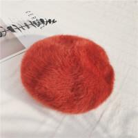 茉蒂菲莉 贝雷帽 加厚立体女貂绒可调节兔毛画家帽潮纯色毛绒蓓蕾帽子