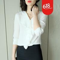 双层荷叶边重磅真丝长袖衬衫24姆米桑蚕丝上衣2018春新款女装YS01 白色
