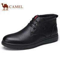 camel 骆驼男鞋 冬季商务休闲加绒保暖牛皮鞋子商务短靴冬鞋