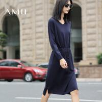 【AMII 超级品牌日】AMII[极简主义]秋冬女新款长袖针织中长款V领连衣裙毛衣裙子