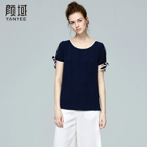 颜域品牌女装2017夏季新款品牌时尚休闲提花圆领撞色短袖T恤女夏