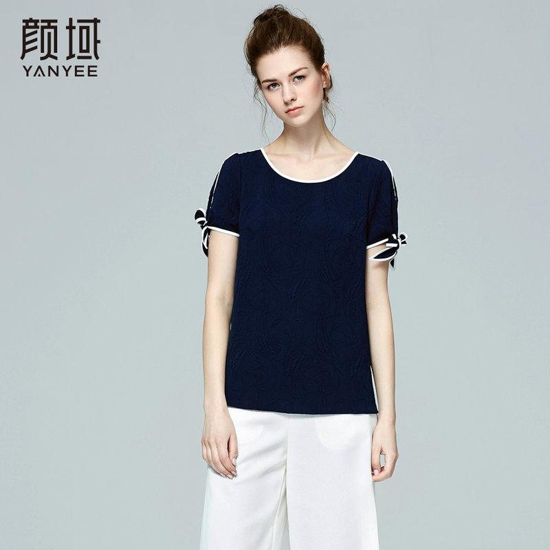 颜域品牌女装2017夏季新款品牌时尚休闲提花圆领撞色短袖T恤女夏舒适梭织面料 撞色设计