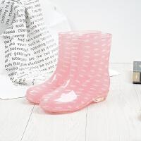 秋冬季时尚雨鞋女加绒保暖水鞋韩版中筒雨水靴耐磨女胶鞋