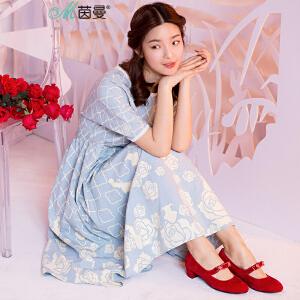 茵曼迪士尼合作款美女与野兽系列玫瑰花短袖连衣裙中长裙【D1872102296】