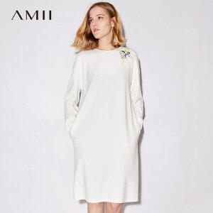 Amii[极简主义]2017秋装新款大码休闲长袖印花拉链连衣裙11724162