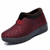 冬季老北京布鞋女棉鞋平底加绒保暖老人奶奶鞋防滑中老年人妈妈鞋 红色 N11