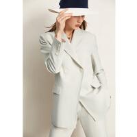 Amii极简时尚通勤套装2021秋新款显瘦西装外套直筒裤两件套