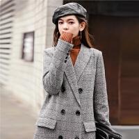 毛呢外套2018秋冬季新款中长款韩版大衣羊毛女过膝西装格子双排扣