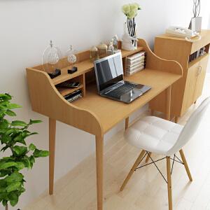 御目 电脑桌 北欧家用简约办公桌写字台卧室现代简易台式电脑书桌书架组合小桌子满额减限时抢家具用品