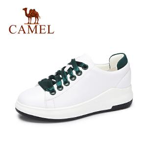 camel/骆驼女鞋 2017秋季新款休闲平底小白鞋 运动百搭单鞋丝带纯色板鞋
