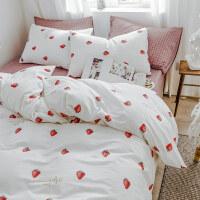 北欧风四件套纯棉床上用品网红款床单被套单人宿舍三件套床笠