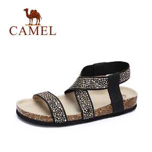 camel骆驼女鞋  春夏新款 休闲罗马风水钻弹力布凉鞋平底防滑沙滩鞋