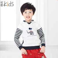 初语童装 条纹儿童卫衣百搭卡通男童卫衣T54052
