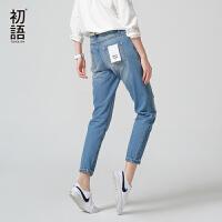【初语大牌日】初语夏季新款 个性补丁休闲牛仔裤女8621815049