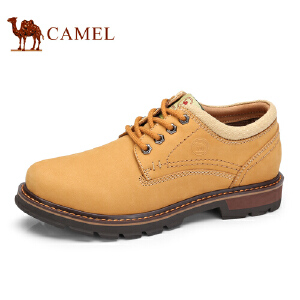 骆驼牌 男鞋 新品头层磨砂牛皮工装鞋时尚简约男低帮鞋