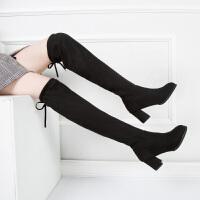 过膝长靴女2019新款网红百搭黑色瘦瘦靴高跟粗跟弹力高筒显瘦单靴 黑色