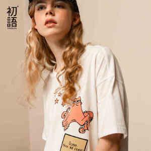 初语女装新款迪士尼海底总动员系列纯棉印花短袖T恤女大码上衣夏