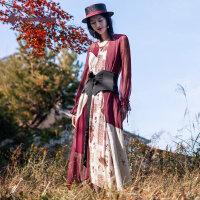 生活在左2019春款新品红色长袖真丝桑蚕丝连衣裙两件套配腰带袖绳