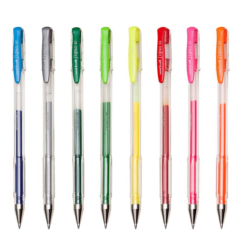 三菱uni透明杆中性笔0.5mm 拔帽式水笔 日本进口办公签字笔UM-100(单支)