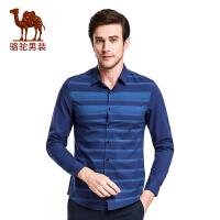 骆驼男装 新款时尚青年尖领日常休闲衬衣修身长袖衬衫男