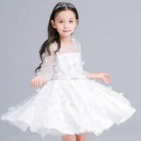 新款女童绣花礼服公主裙 儿童连衣裙花童长袖腰带蓬蓬裙婚纱表演裙白色