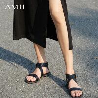 Amii[极简主义]夏装新头层牛皮交叉绑带平底凉鞋凉鞋11773330