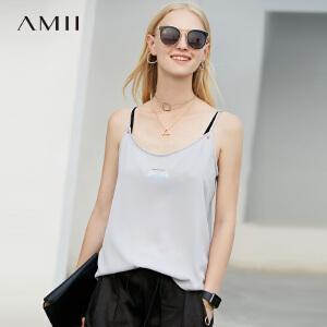 【五折再叠20元优惠券】Amii极简心机欧货潮原宿吊带背心女2018夏新白色上衣
