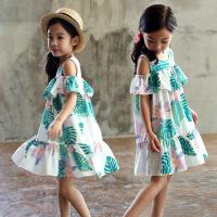 夏季童装韩版潮童印花女童连衣裙肩露荷叶背心裙 图片色