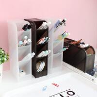 斜插式笔筒办公室女桌面收纳盒书桌文具用品桶置物架透明化妆刷筒