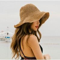 可折叠草帽女夏季出游防晒遮阳帽帽海边沙滩帽子潮
