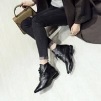 马丁靴女秋冬系带低跟短靴学生韩版平底皮靴女粗跟真正皮尖头裸靴 35 标准码