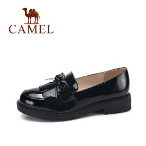 camel骆驼女鞋  秋季新款 蝴蝶结流苏浅口女单鞋 时尚百搭圆头女鞋