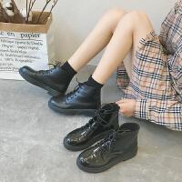 靴子女英伦学院风马丁靴粗跟2019新款春秋中跟女鞋亮皮短靴单靴潮
