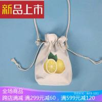 原创抽绳束口袋 小水桶包单肩包女手机袋零钱包小斜挎包 通用