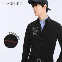 太平鸟男装 春装新款 男士刺绣潮流修身长袖衬衫B1CA71309