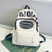 韩版帆布轻便补课男生双肩包小学生书包男童1-3-4-6年级儿童背包 米白色