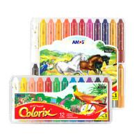 AMOS儿童旋转油画棒安全无毒可水洗蜡笔套装宝宝幼儿园画画笔24色